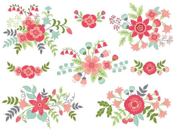 Floral bouquet vector flowers. Flower clipart digital