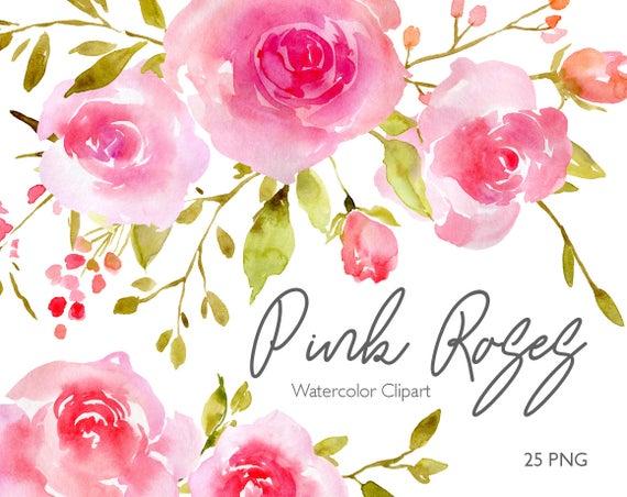 Flower clipart digital. Blush watercolor roses flowers
