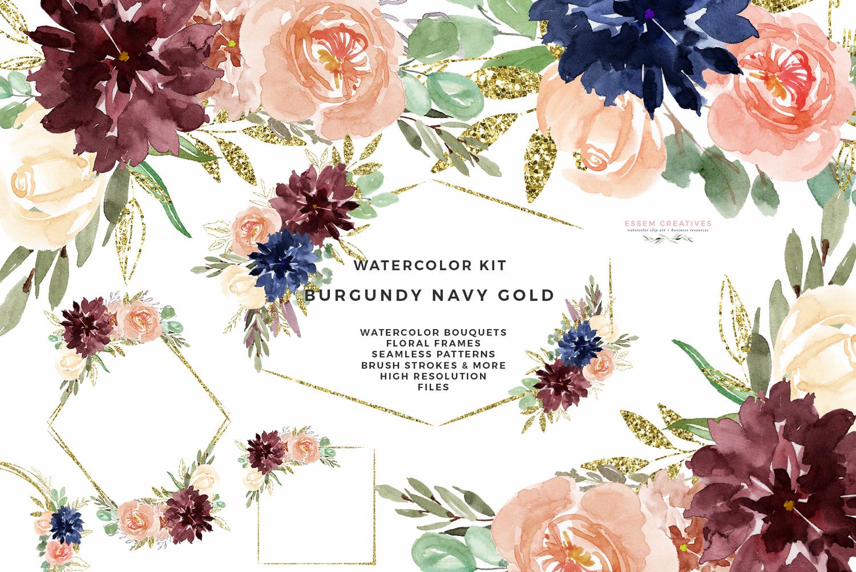 Flower clipart digital. Burgundy navy gold watercolor