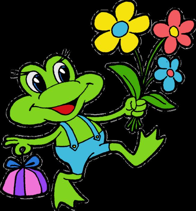 frog clipart flower