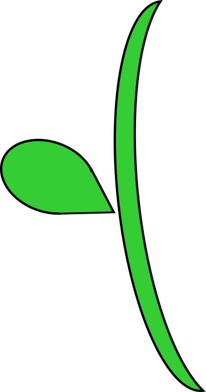 Flower clipart leaves. Leaf stem curvy christmas