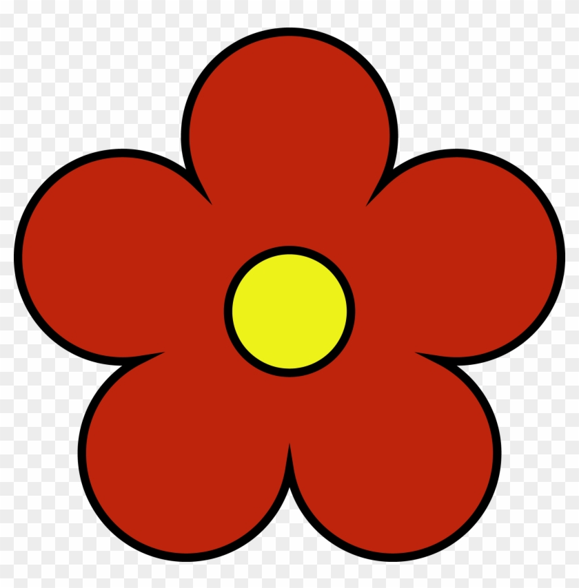 Outside red inside yellow. Flower clipart simple
