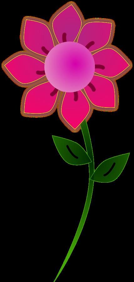 Flower clipart stems. Pink border clip art