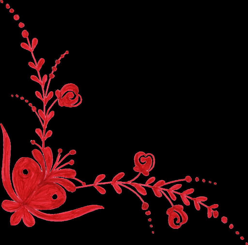 Flower corner png.  red ornament transparent