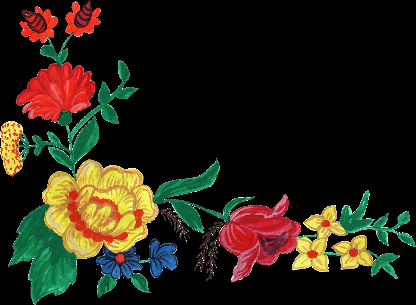 Flower corner png.  watercolor transparent vol