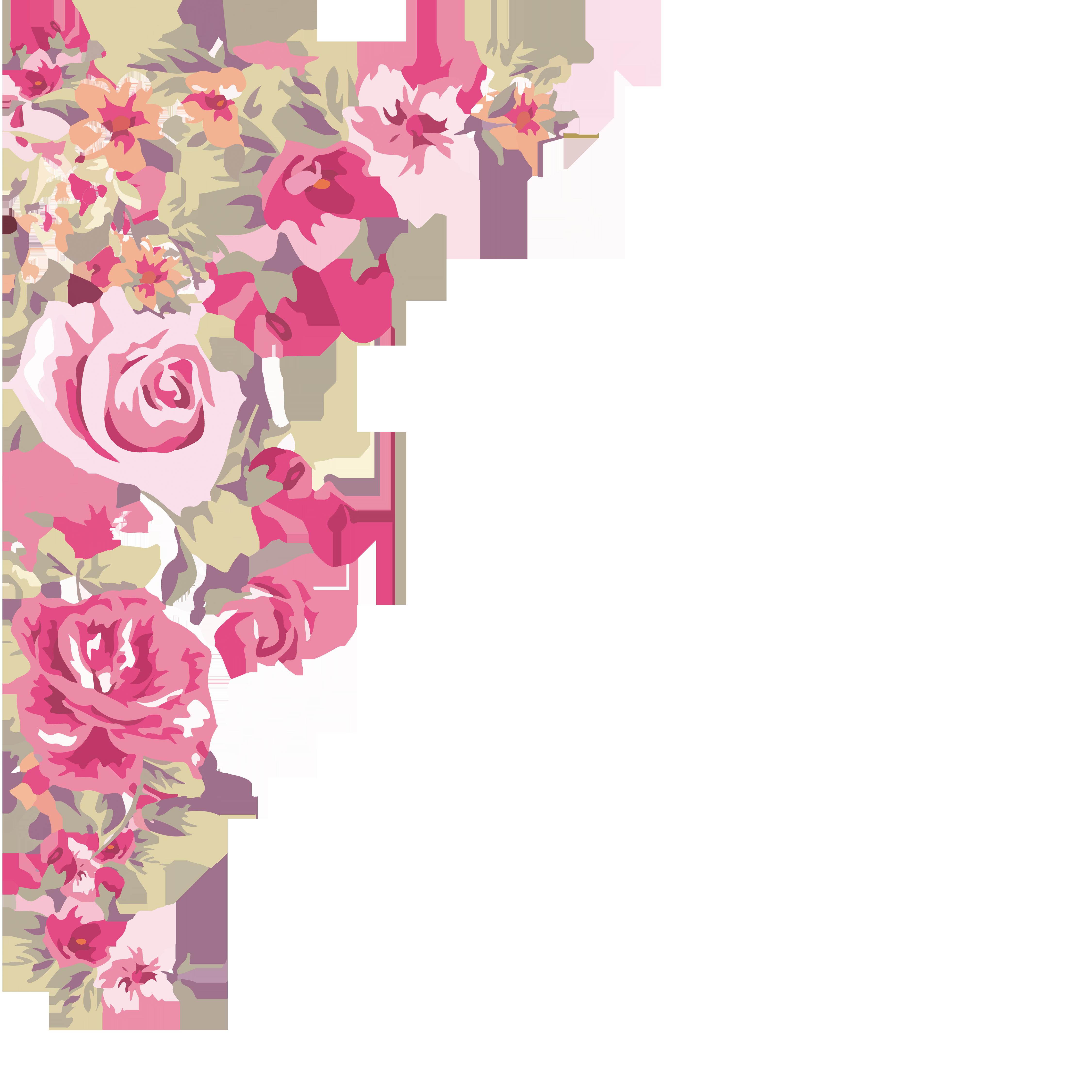 Wallpaper painted flowers transprent. Flower corner png