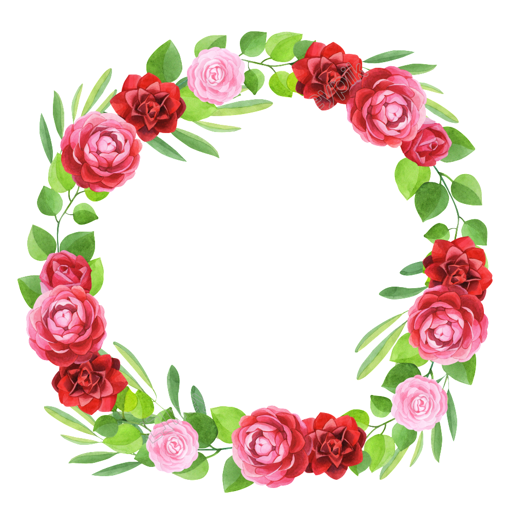 Flower garland png. Hand painted three colors
