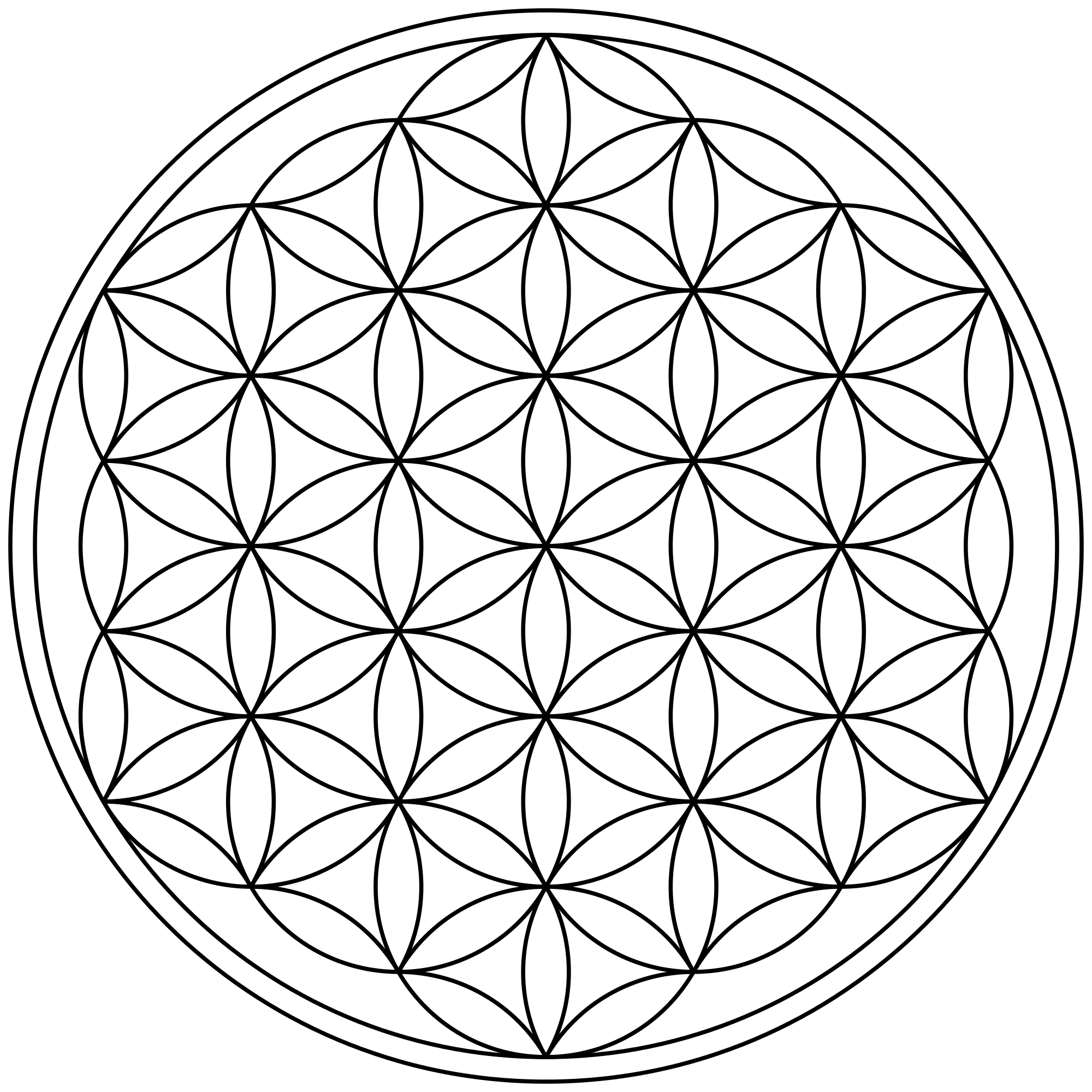 Datei circles arcs enclosed. Flower of life png