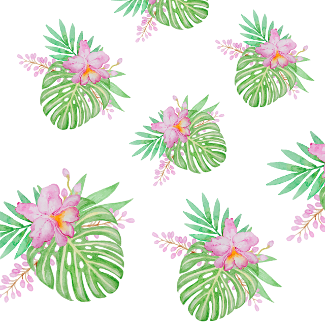 Tropical leaf with flowers. Flower pattern png