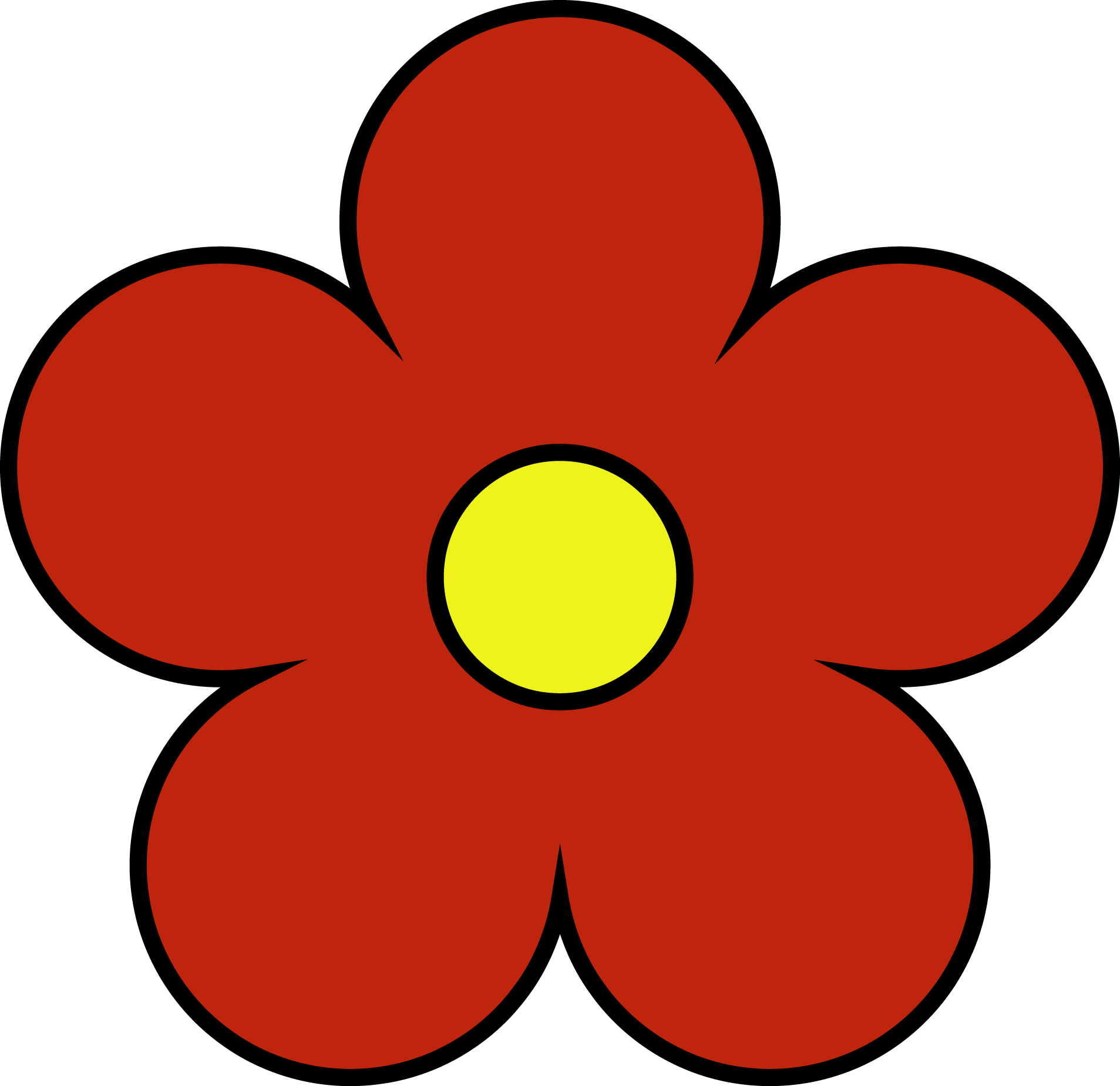 Outside red inside yellow. Flower png clipart