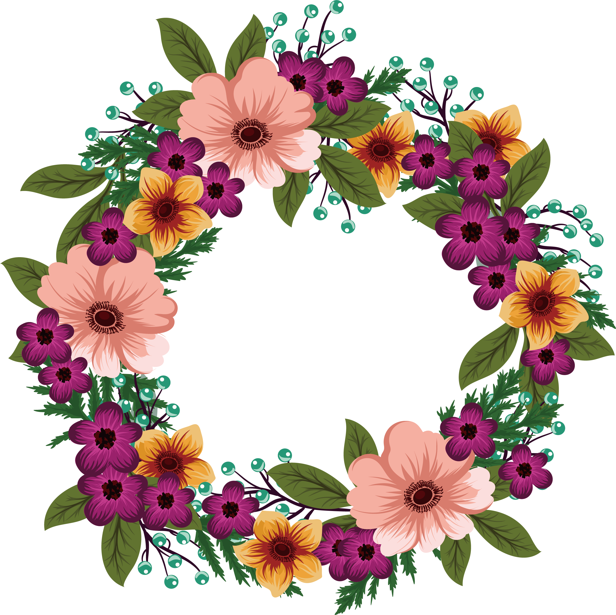 Wedding invitation cute wild. Flower wreath png