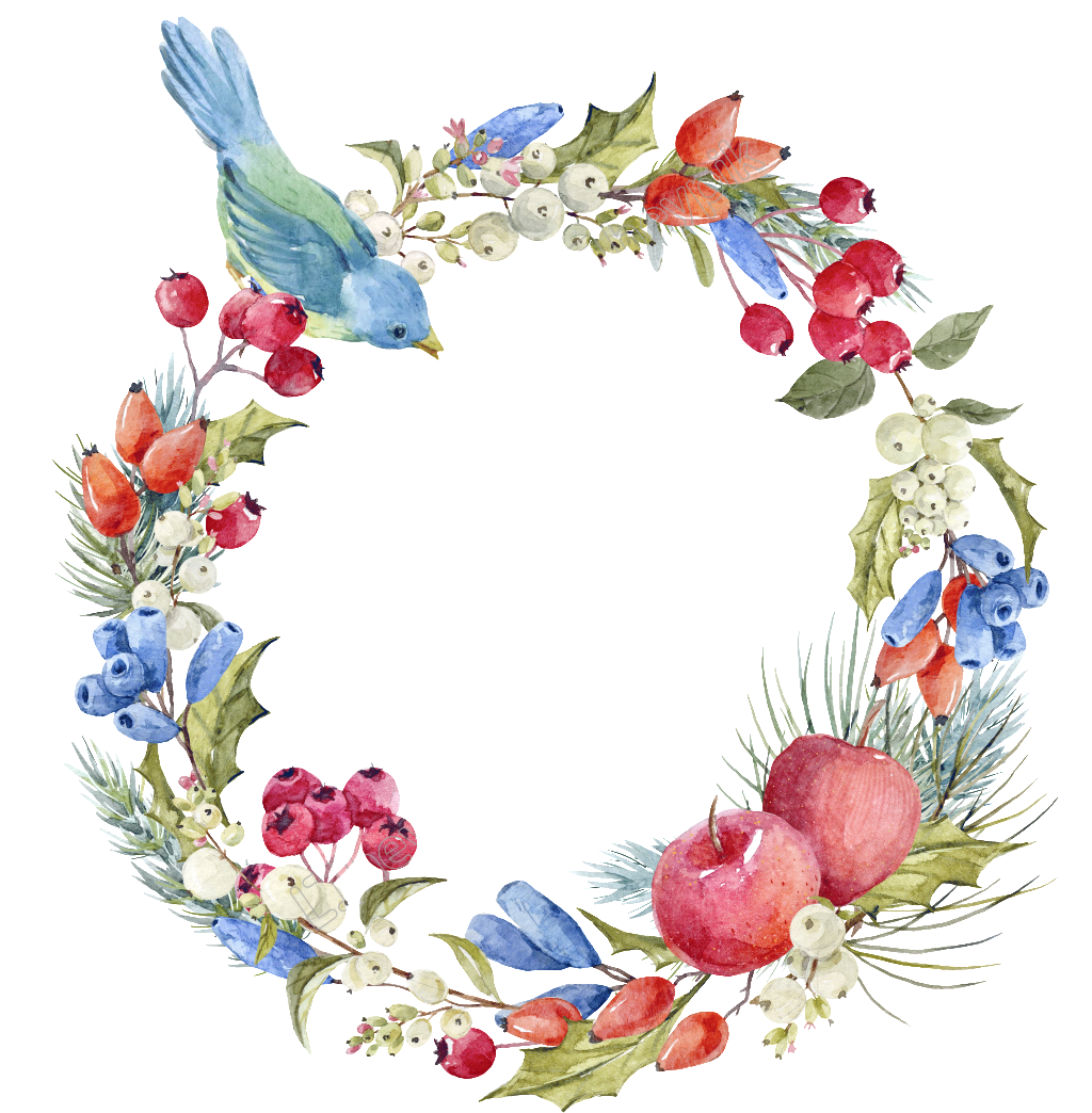 Flower wreath png. Hand painted transparent free