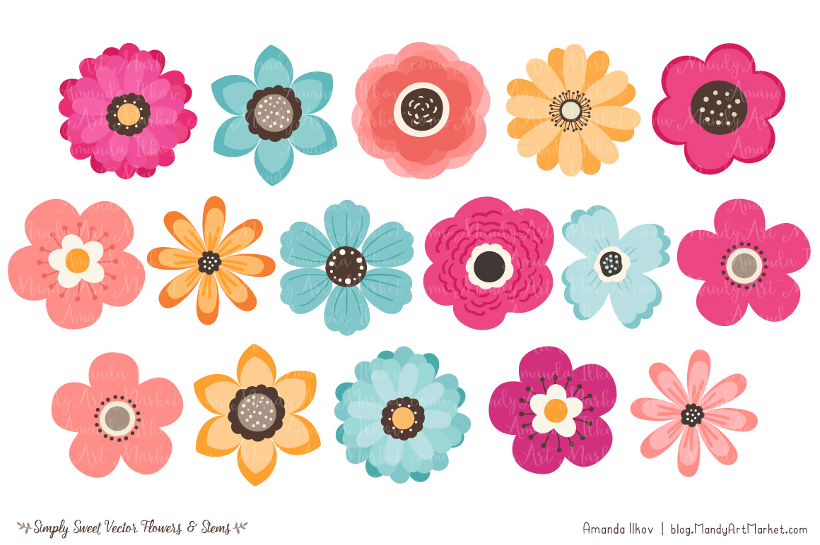 Simply vector flowers stems. 7 clipart sweet