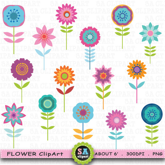 Flowers clipart cute. Flower clip art pack