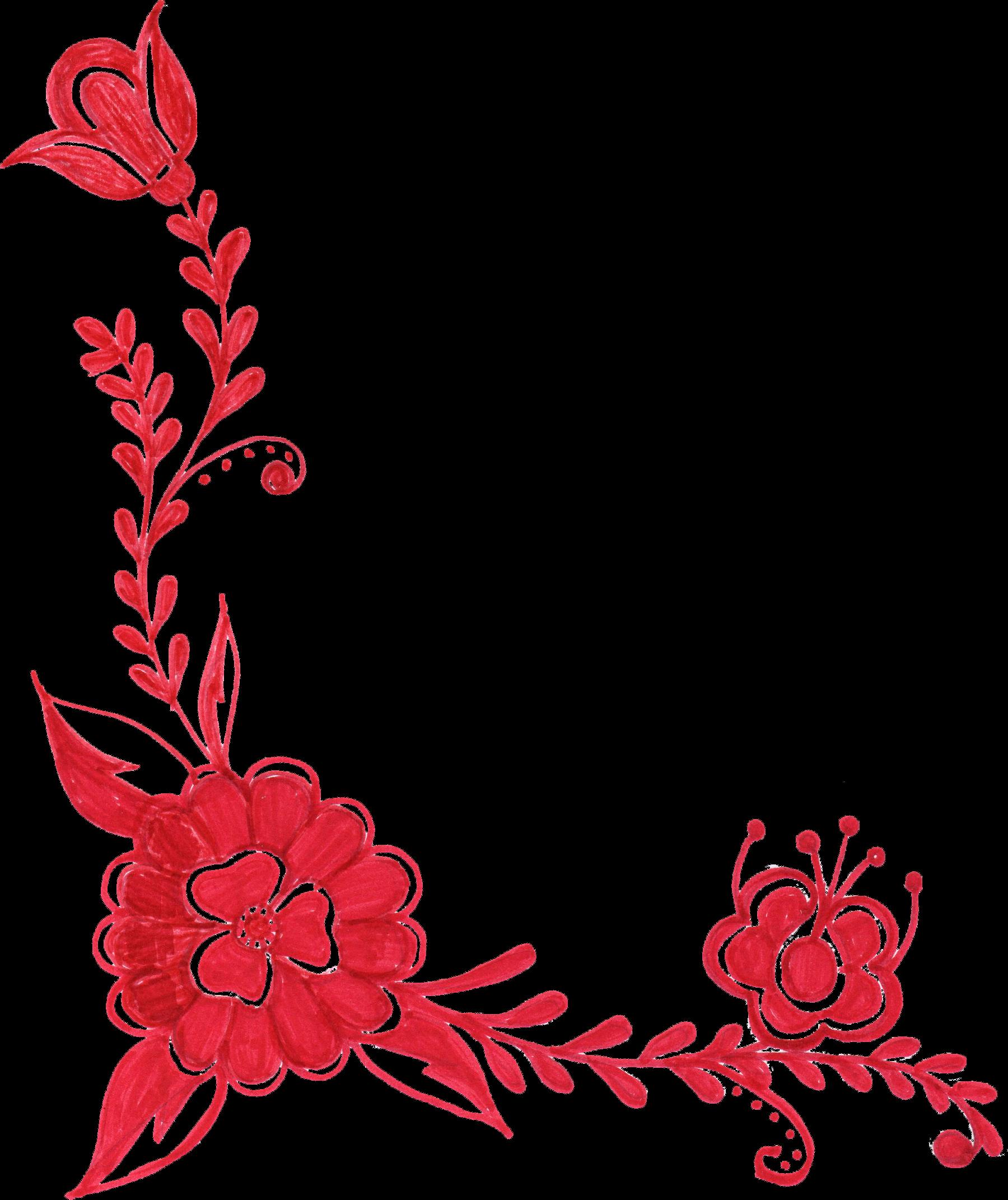 Red flower png.  corner ornament transparent