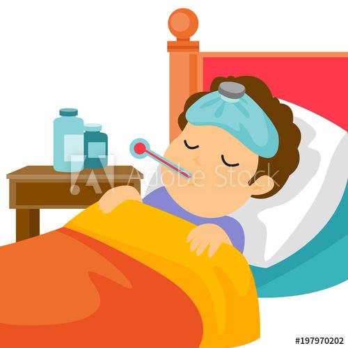 Sick caucasain white man. Flu clipart bed cartoon