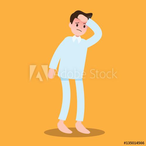 Sick patient feeling sickness. Flu clipart ill man