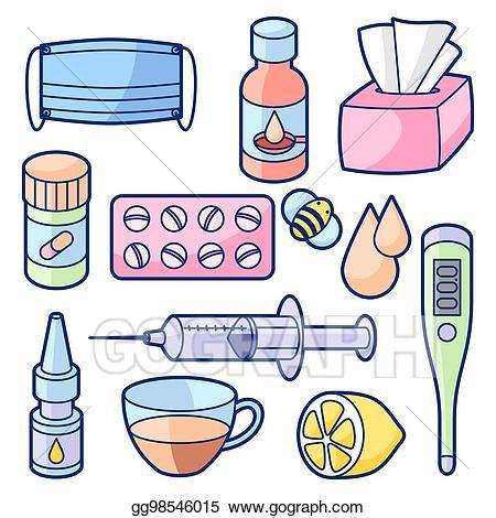 Vector illustration medicines and. Flu clipart medical