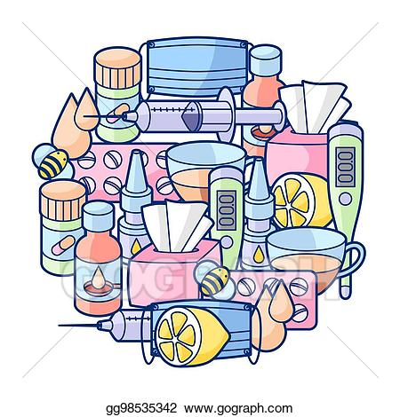 Flu clipart medical. Vector background with medicines