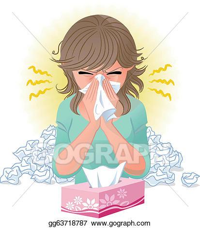 Vector blowing nose illustration. Flu clipart seasonal allergy