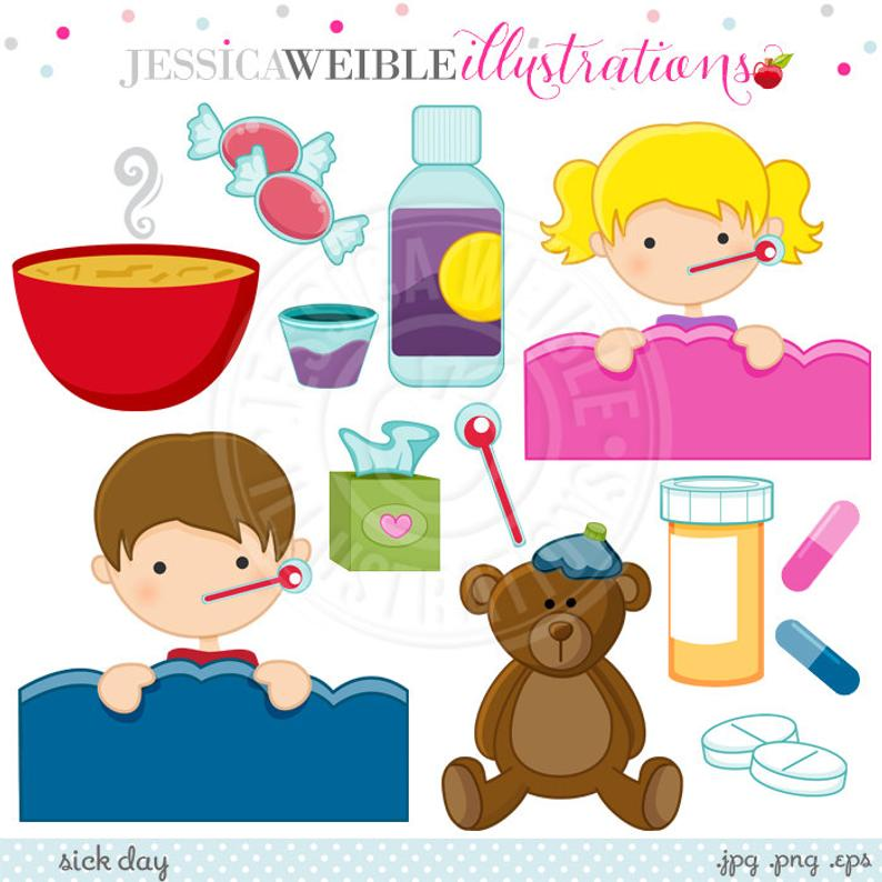 Flu clipart sick. Day cute digital commercial