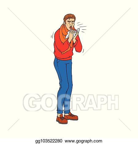 Flu clipart sick guy. Vector illustration young man