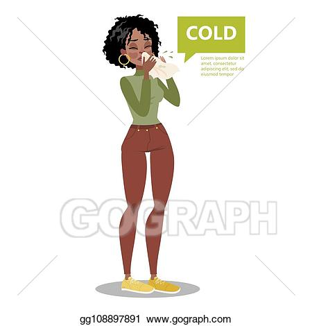 Flu clipart sneeze. Vector art woman with