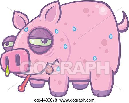 Vector stock cartoon pig. Flu clipart swine flu