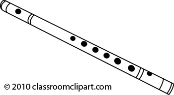 Flute clipart. Black and white