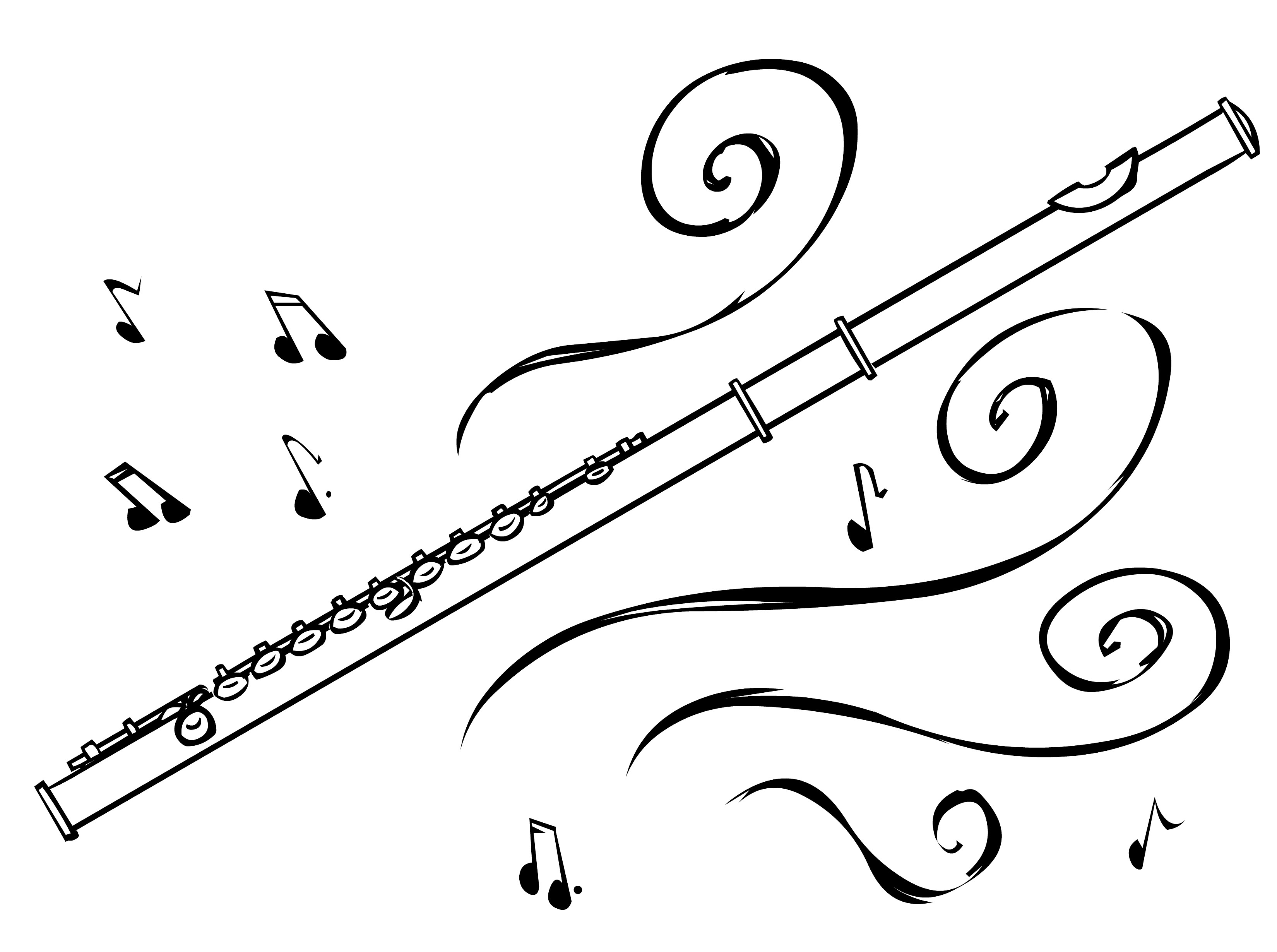 Flute drawing google search. Flutes clipart