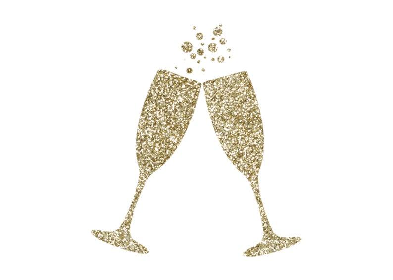 Gold glitter champagne . Flutes clipart champaigne