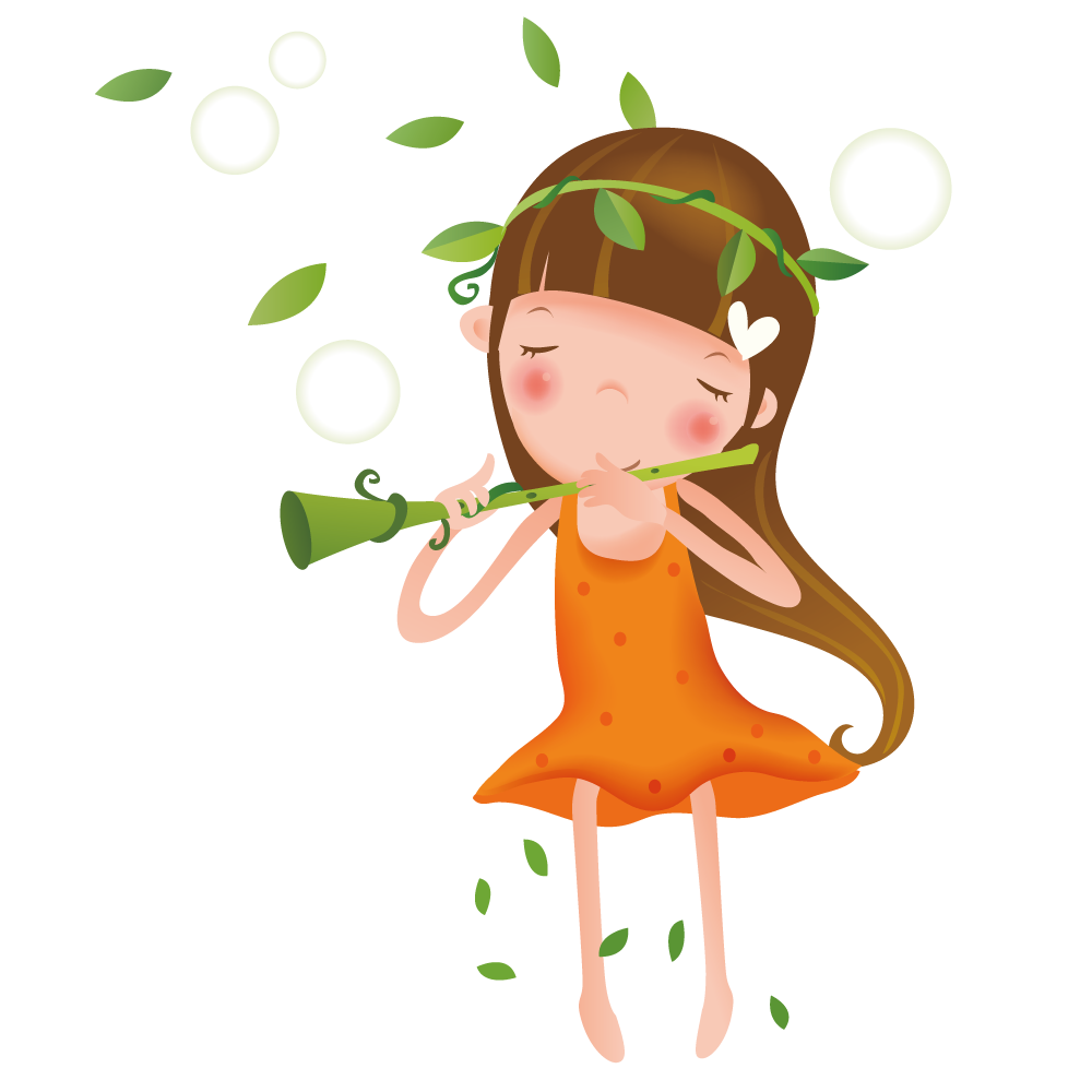 Girl playing the transprent. Flute clipart flute player