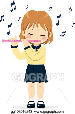 Vector stock girl playing. Flute clipart flute player