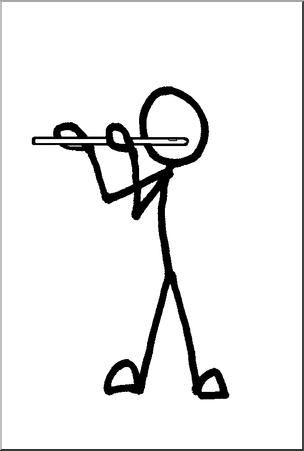 Clip art stick guy. Flute clipart flute player