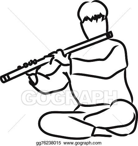 Flutes clipart line art. Vector illustration indian musician