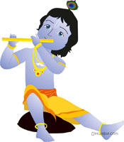 Theme playing the poster. Flute clipart little krishna