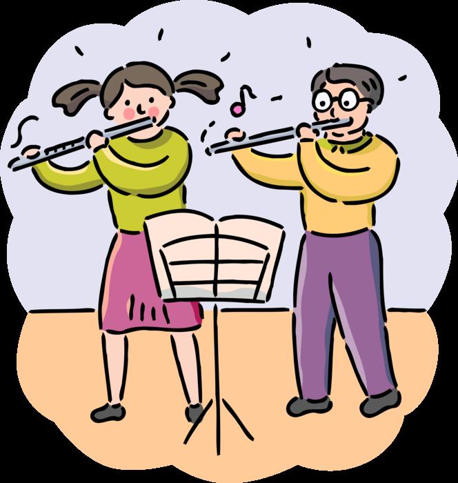 Musician clipart school play. Student musicians flute vector
