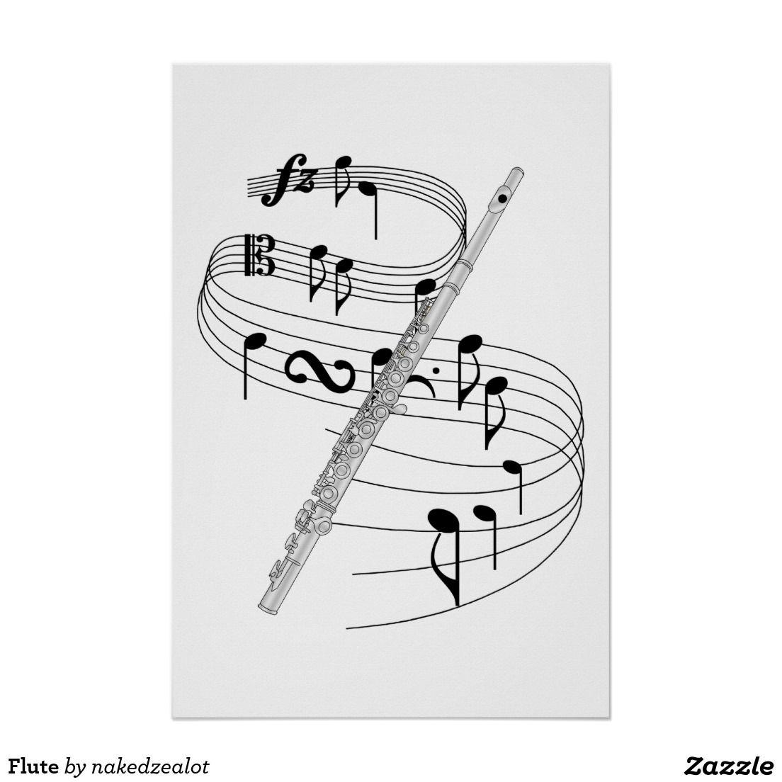 Flute clipart music note. P ster flauta zazzle