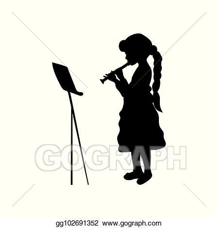 Flute clipart musician. Vector silhouette girl music