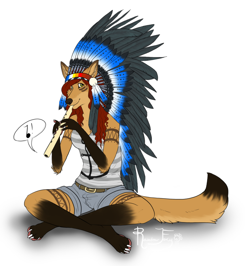 Little indian by rainbow. Flute clipart native american flute