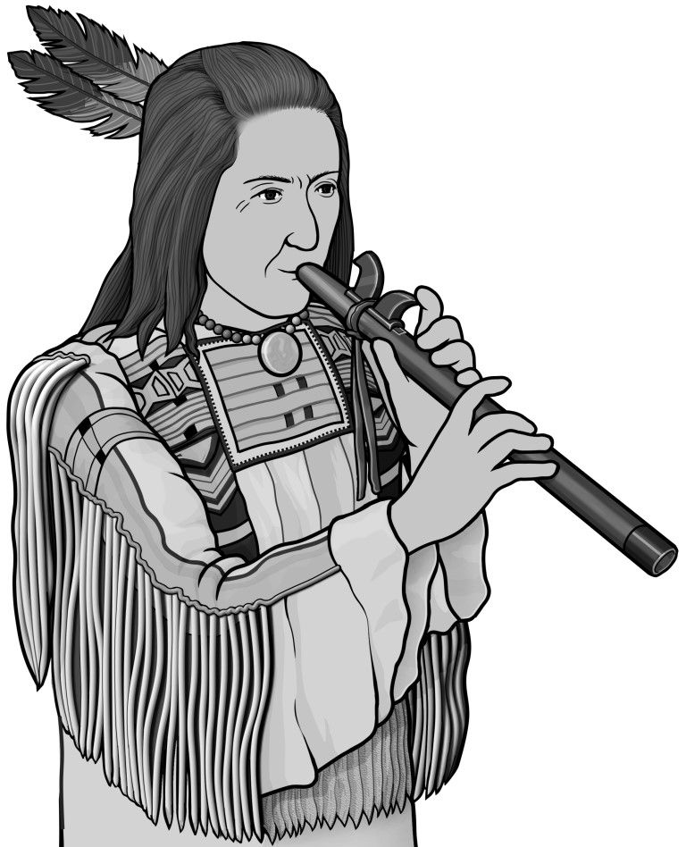 Monochrome images painting . Flute clipart native american flute