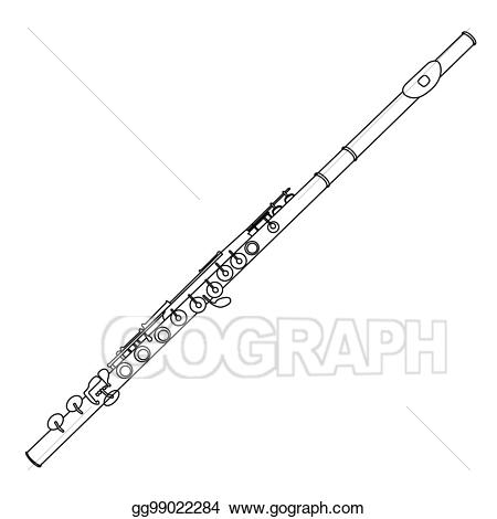 Flutes clipart outline. Vector art isolated flute