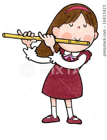 Children s school life. Flutes clipart flute player