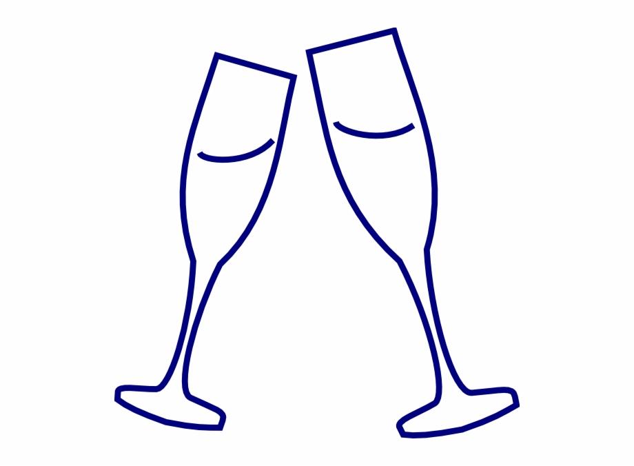 Champagne glass blue clip. Flutes clipart line art