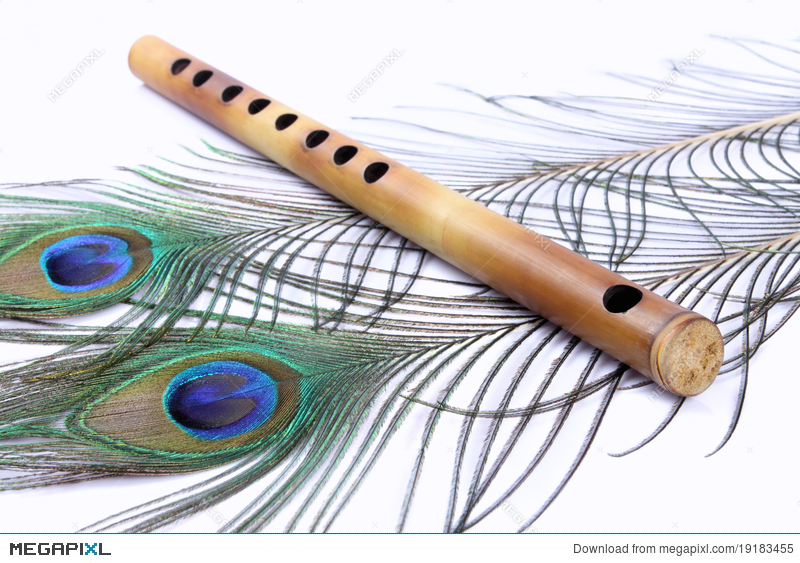 Flutes clipart odakkuzhal. Flute with peacock feathers