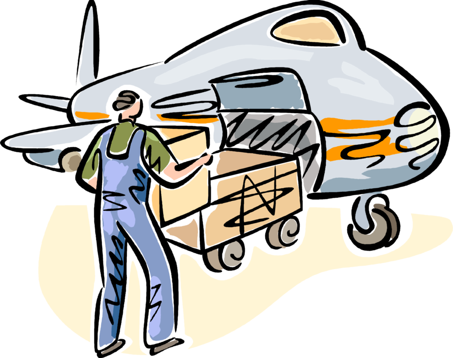 Flying clipart airport terminal. Baggage handler loads luggage