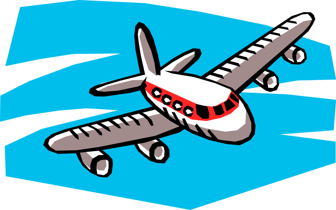 Aircraft in flight vector. Jet clipart commercial airplane