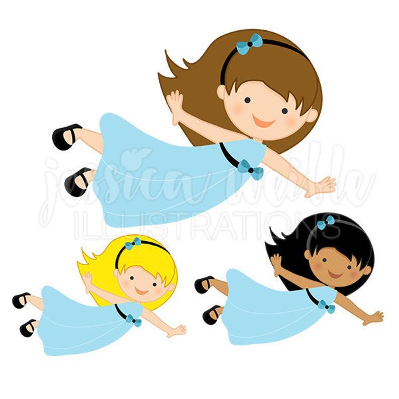 Girl in blue dress. Flying clipart cute