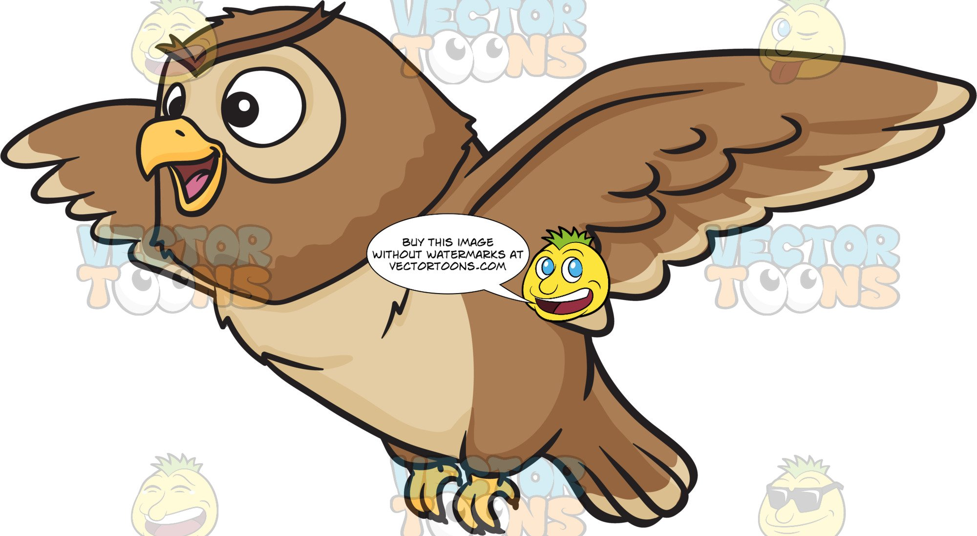 A night owl . Flying clipart cute