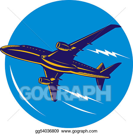 Flying clipart fast plane. Stock illustrations airplane jet